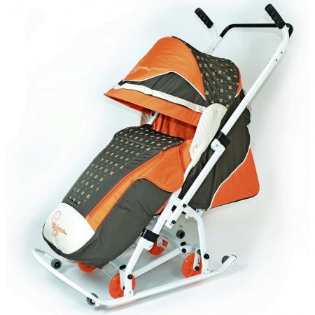Санки-коляска RT СКОЛЬЗЯШКИ Мозаика до 45 кг пластик металл ткань оранжевый бежевый оливковый 0936-Р14 скользяшки 0915 р14
