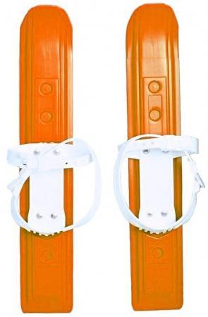 Мини-лыжи Пингвин Юниор с пластиковым креплением- оранжевые 3753 мини лыжи большие из морозостойк пластика с 2мя текстил ремешками 41см