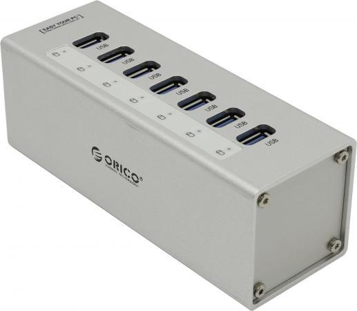 Концентратор USB 3.0 Orico A3H7-SV 7 x USB 3.0 серебристый концентратор usb orico h73 серебристый usb 3 0 x 7 адаптер питания