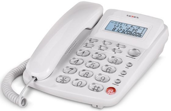 Телефон проводной Texet TX-250 белый телефон проводной texet tx 212 серый