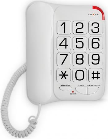 Телефон проводной Texet TX-201 белый телефон проводной texet tx 212 серый