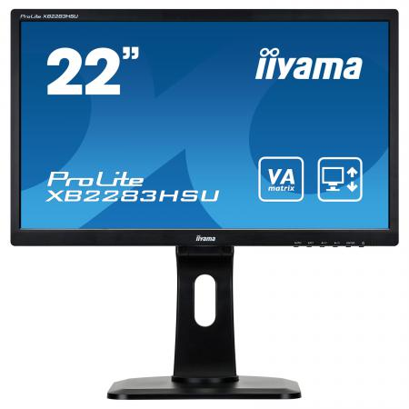 "Монитор 22"" iiYama XB2283HSU-B1DP черный VA 1920x1080 250 cd/m^2 5 ms DVI VGA Аудио DisplayPort USB монитор 22 dell p2213 черный tn 1680x1050 250 cd m^2 5 ms dvi displayport vga usb 2213 1217"