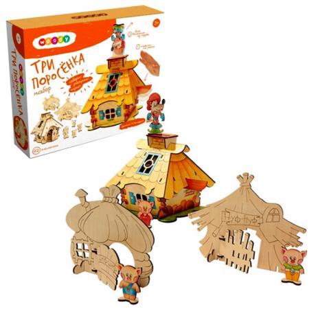 Деревянный конструктор WOODY Три поросенка 42 элемента О0570 мягкая игрушка интерактивная woody o time лошадка непоседа