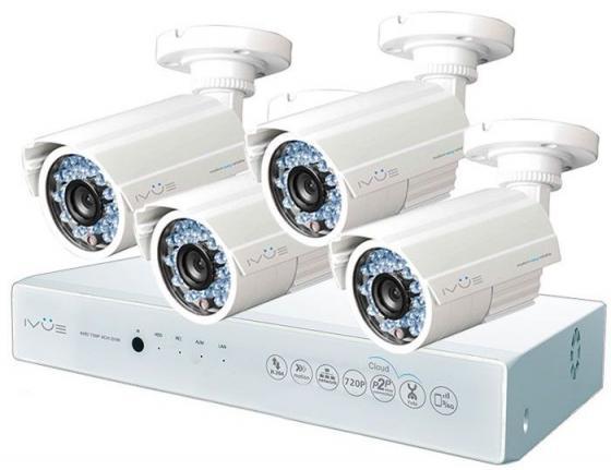 Комплект видеонаблюдения IVUE D5004 AHC-B4 4 внутренние камеры 4-х канальный видеорегистратор ivue 6004 k ck 20 1099 icr