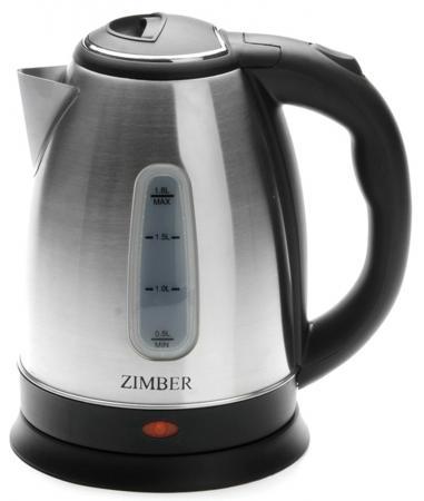Чайник Zimber ZM-11134 1500 Вт серебристый чёрный 1.8 л металл чайник zimber zm 11129 750 вт 5 л металл чёрный