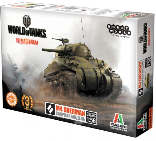Танк Hobby World World of Tanks - M4 Sherman 1:56 зеленый hobby world hobby world