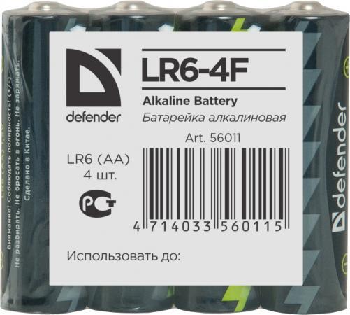 Батарейки Defender LR6-4F AA 4 шт 56011 батарейки samsung pleomax lr6 aa 10 шт