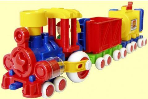 Поезд Форма Ромашка разноцветный с 2 вагонами ДС С-119-ф eichhorn поезд с 2 вагонами и животными