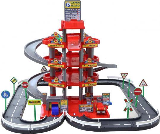 Паркинг Wader 4-уровневый с дорогой и автомобилями красный (в коробке) Wader 44723 бетономешалка набор каменщика wader construct 7 wader construct 8 элементов в коробке [50649 pls]