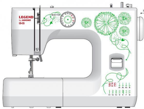 Швейная машина Janome Legend LE15 белый/цветы janome legend le 15