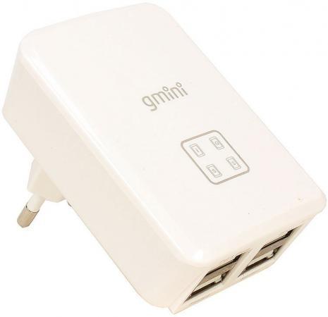 Сетевое зарядное устройство Gmini GM-WC-0123-4USB 4A 4 x USB белый сетевое зарядное устройство gmini gm wc 008 1usb usb 1a белый