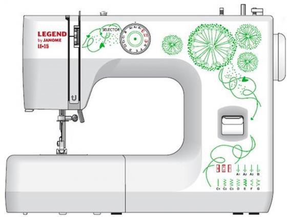 Швейная машина Janome Legend LE15 белый/рисунок швейная машина janome legend 2520 белый рисунок