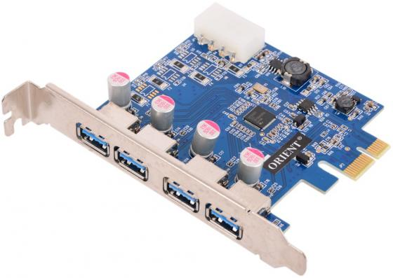 Контроллер PCI-E Orient NC-3U4PE USB3.0 OEM концентратор usb 3 0 orient bc 305 4 port