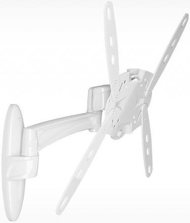 Кронштейн Holder LCDS-5025 белый для ЖК ТВ 26-60 VESA 340х120 настенный от стены 310мм наклон +15°/-25° поворот 270° до 50кг кронштейн holder lcds 5002 металлик для жк тв 10 26 настенный от стены 50мм наклон 15° vesa 100x100 до 25 кг