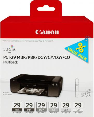 Набор картриджей Canon PGI-29 MBK/PBK/DGY/GY/LGY/CO для PRO-1 4868B018 картридж canon pgi 29 lgy 4872b001