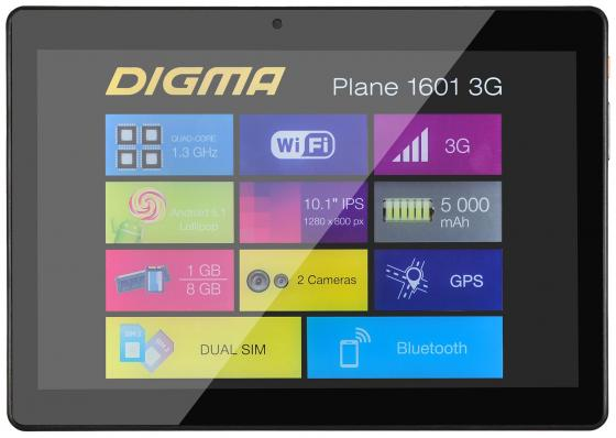 Планшет Digma Plane 1601 3G 10.1 8Gb черный Wi-Fi 3G Bluetooth Android PS1060MG планшеты digma планшет plane 9505 3g графит