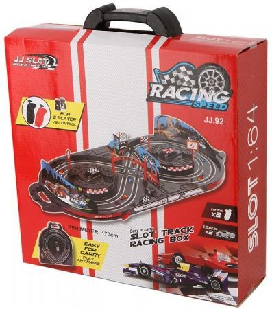 Автотрек Shantou Gepai 2 светящиеся машины, пульт управления, сетевой адаптер, чемоданчик JJ.92-2 автотрек shantou gepai пульт управления длина трассы 179 см 2511