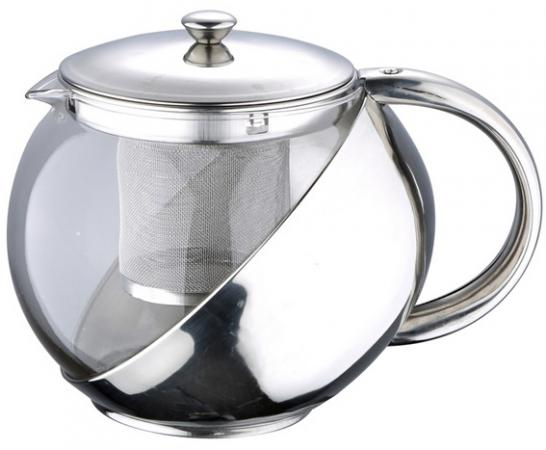 Чайник заварочный Wellberg WB-6876 прозрачный серебристый 1 л металл/стекло чайник wellberg wb 3431 f