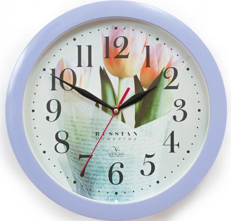 Часы настенные Вега П1-13/7-278 Сиреневые тюльпаны рисунок цена