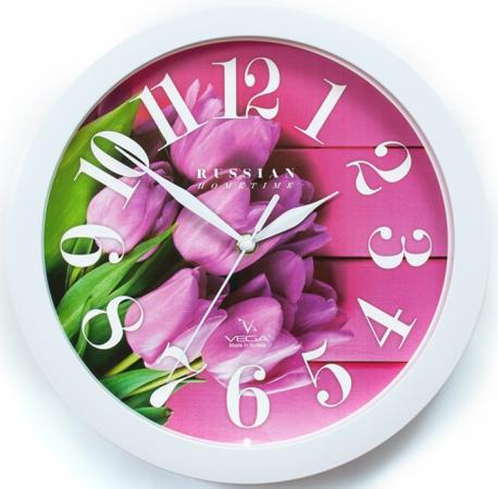 Часы настенные Вега Розовые тюльпаны П 1-7/7-270 белый рисунок цена