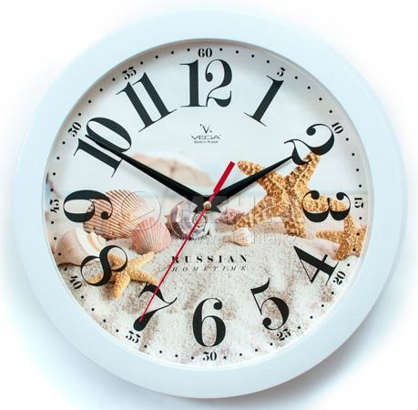 Часы настенные Вега П1-7/7-275 Морские белый рисунок