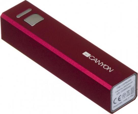 Портативное зарядное устройство Canyon CNE-CSPB26R 2600мАч красный внешний аккумулятор canyon cne cspb26b