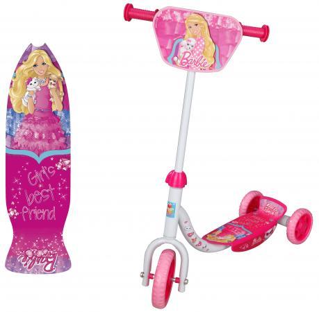 Самокат трехколёсный 1TOY Barbie 6/4 розовый самокат трехколёсный 1toy свинка пеппа 5 4 розовый