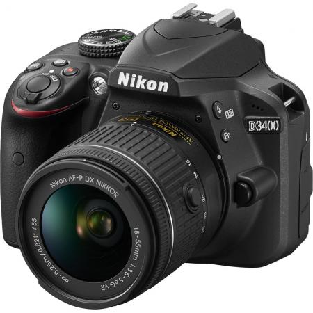 Зеркальная фотокамера Nikon D3400 KIT 18-55mm 24.2Mp черный VBA490K001 фотоаппарат nikon d3400 kit 18 55 mm af p black