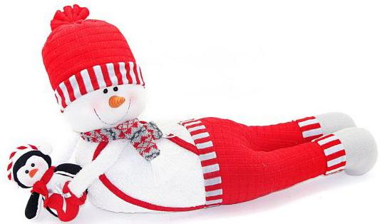 Кукла Новогодняя сказка Снеговик-весельчак 66 см 1 шт красный текстиль кукла под елку новогодняя сказка снеговик 973030