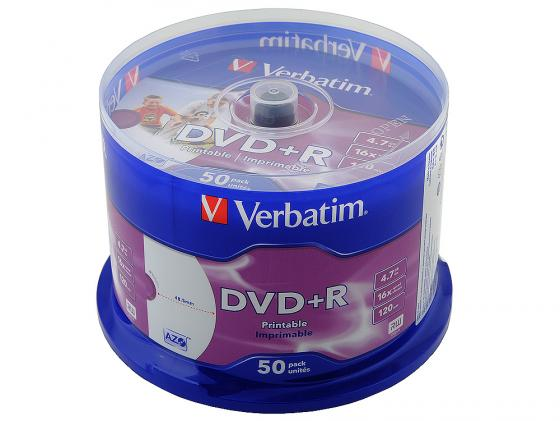 Диски DVD+R Verbatim 16x 4.7Gb CakeBox 50шт AZO Printable 43651/512 диски cd dvd sony dvd r 16x dvd dvd