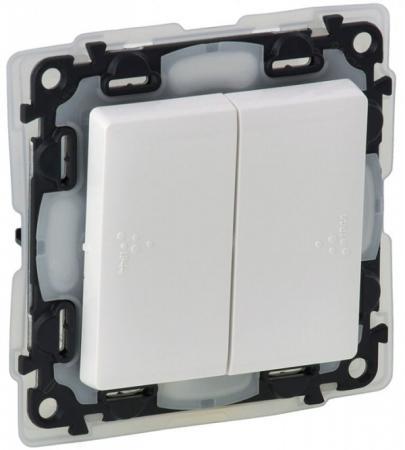 Выключатель Legrand Valena Life IP44 двухклавишный 10А 250В IP44 с лицевой панелью безвинтовые зажимы белый 752155