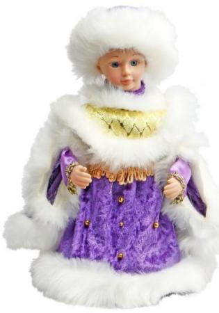 Кукла Новогодняя сказка Снегурочка 30 см 1 шт фиолетовый текстиль, пластик, искусственный мех снегурочка в голубом мех муз 40 см песенка