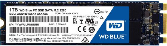 Твердотельный накопитель SSD M.2 1Tb Western Digital Blue Read 545Mb/s Write 525Mb/s SATAIII WDS100T1B0B жесткий диск пк western digital wd40ezrz 4tb wd40ezrz