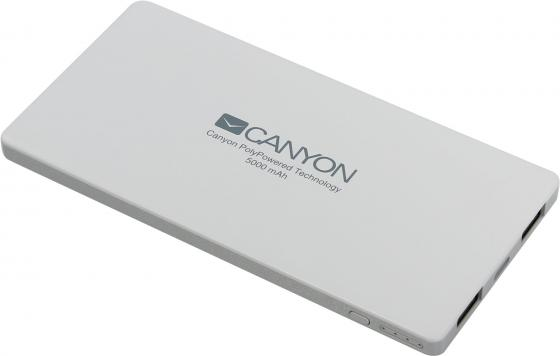 Портативное зарядное устройство Canyon CNS-TPBP5W 5000мАч белый портативное зарядное устройство canyon cns tpbp10w 10000мач белый