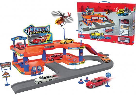 Игровой набор Гараж Welly включает 4 машины и вертолет welly welly набор служба спасения пожарная команда 4 штуки