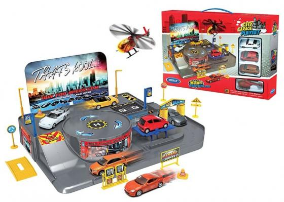 Игровой набор Гараж Welly включает 3 машины и вертолет 96010