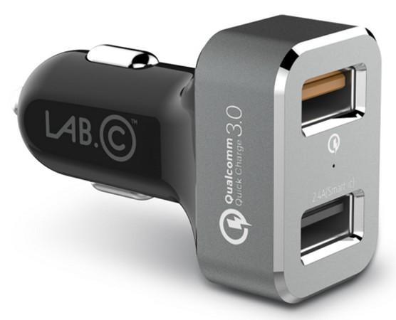 Автомобильное зарядное устройство LAB.C USB Car Charger 2.4А USB серый LABC-583-GR car ac digital camera travel battery charger for nikon en el15 black