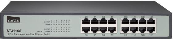 Коммутатор Netis ST3116S 16 портов 10/100Mbps коммутатор zyxel gs1100 16 gs1100 16 eu0101f