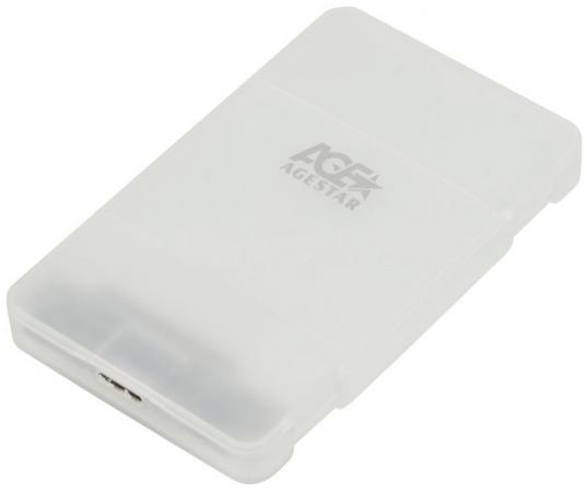 """Внешний контейнер для HDD 2.5"""" SATA AgeStar 3UBCP3 USB3.1 алюминий белый контейнер для hdd agestar 3u2b2a"""