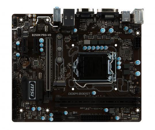 Материнская плата MSI B250MPRO-VD Socket 1151 B250 2xDDR4 1xPCI-E 16x 2xPCI-E 1x 6xSATAIII mATX Retail msi original zh77a g43 motherboard ddr3 lga 1155 for i3 i5 i7 cpu 32gb usb3 0 sata3 h77 motherboard