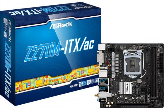 Материнская плата ASRock Z270M-ITX/AC Socket 1151 Z270 2xDDR4 1xPCI-E 16x 6xSATAIII mini-ITX Retail материнская плата asrock b150m pro4s s1151 b150 matx