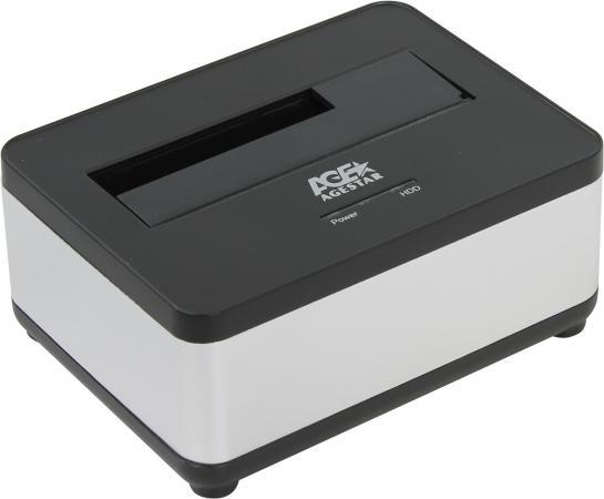 Док станция для HDD 2.5/3.5 SATA AgeStar 3UBT7 USB3.0 серебристый док станция agestar 3ubt black usb 3 0 2 5 3 5 sata