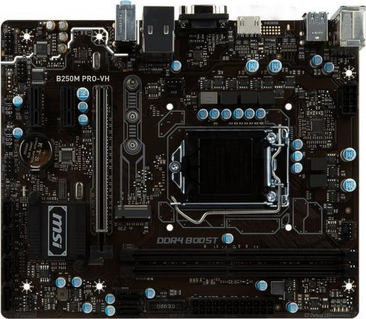 Материнская плата MSI B250M PRO-VH Socket 1151 B250 2xDDR4 1xPCI-E 16x 2xPCI-E 1x 6xSATAIII mATX Retail msi msi b250m pro vd материнской платы intel b250 lga 1151