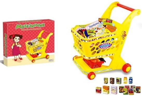 Игровой набор Shantou Gepai Магазинчик Тележка с продуктами 14 предметов стоимость