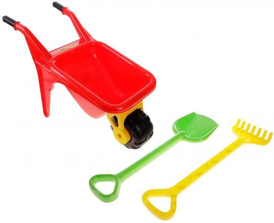 Тачка Полесье Садовод с большими лопатой и граблями в ассортименте 3 предмета 4383 полесье игрушка пластм тачка садовод полесье