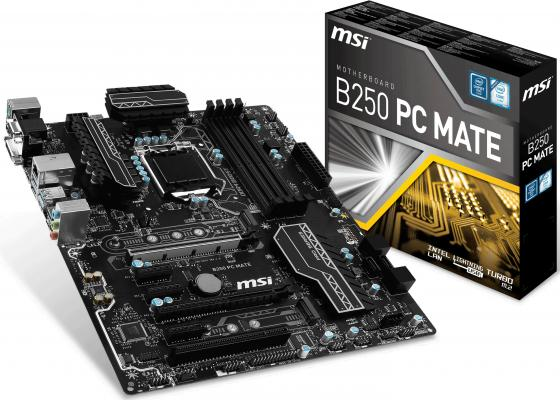 все цены на Материнская плата MSI B250 PC MATE Socket 1151 B250 4xDDR4 2xPCI-E 16x 1xPCI 3xPCI-E 1x 6xSATAIII ATX