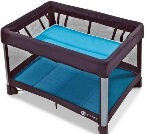 Манеж-кроватка 4moms Breeze 2 (голубой) манеж 4moms 4moms манеж кровать breeze серый