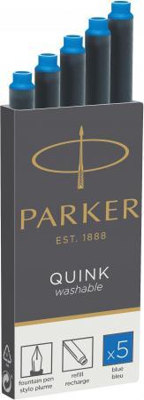 Картридж Parker Quink Ink Z11 для перьевых ручек чернила синие 5шт 1950383 флакон с чернилами parker quink ink z13 синие чернила 57мл для ручек перьевых 1950376