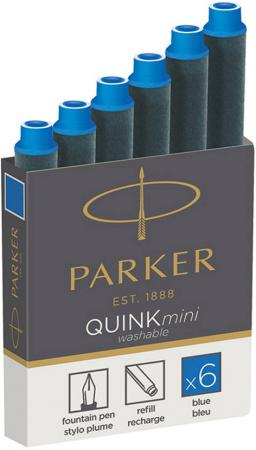 Картридж Parker Quink Ink Z17 MINI для перьевых ручек чернила синие 6шт 1950409 флакон с чернилами parker quink ink z13 синие чернила 57мл для ручек перьевых 1950376