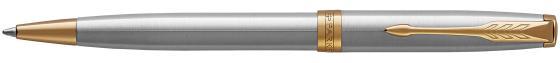 Шариковая ручка поворотная Parker Sonnet Core K527 Stainless Steel GT черный M 1931507 ручка шариковая паркер parker sonnet core k527 1931507 stainless steel gt m черные чернила подар кор